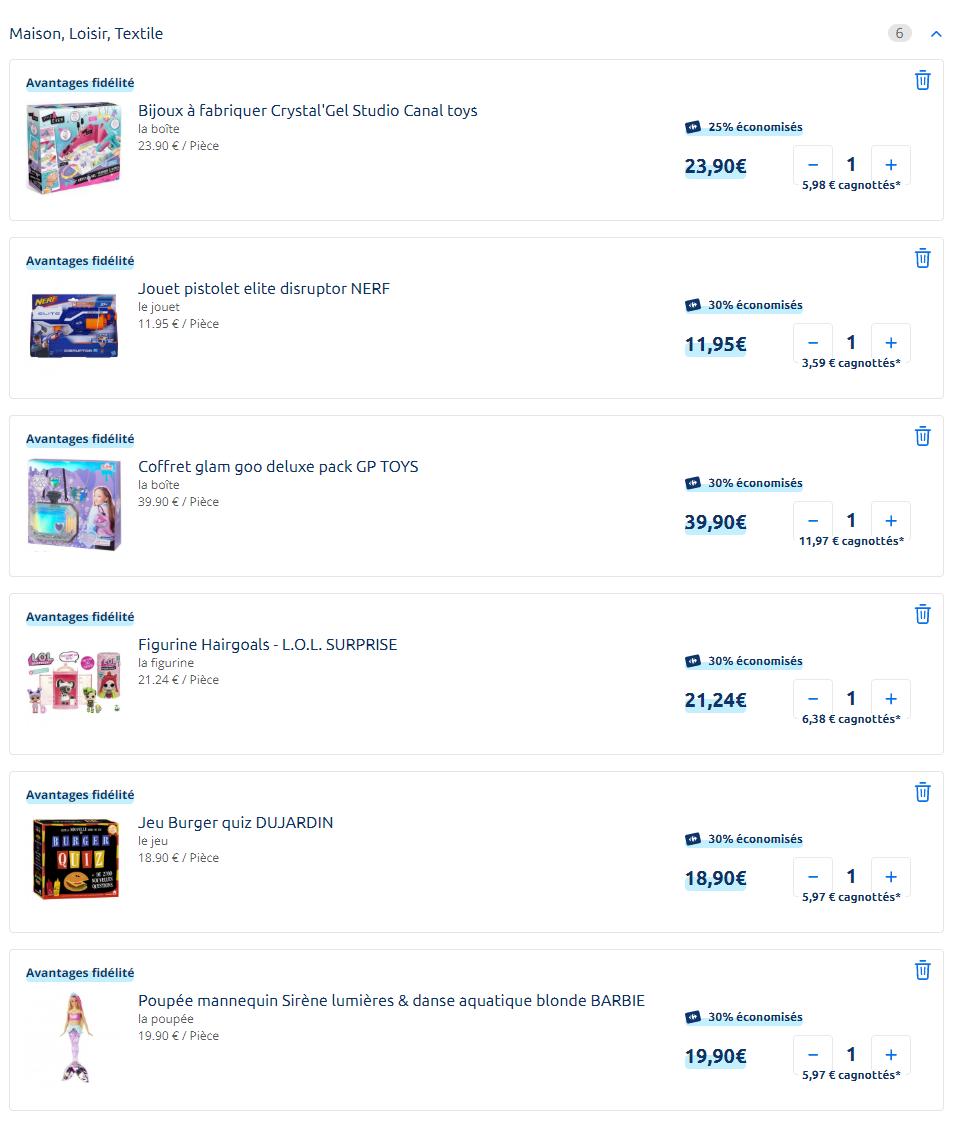 liste des jouets carrefour