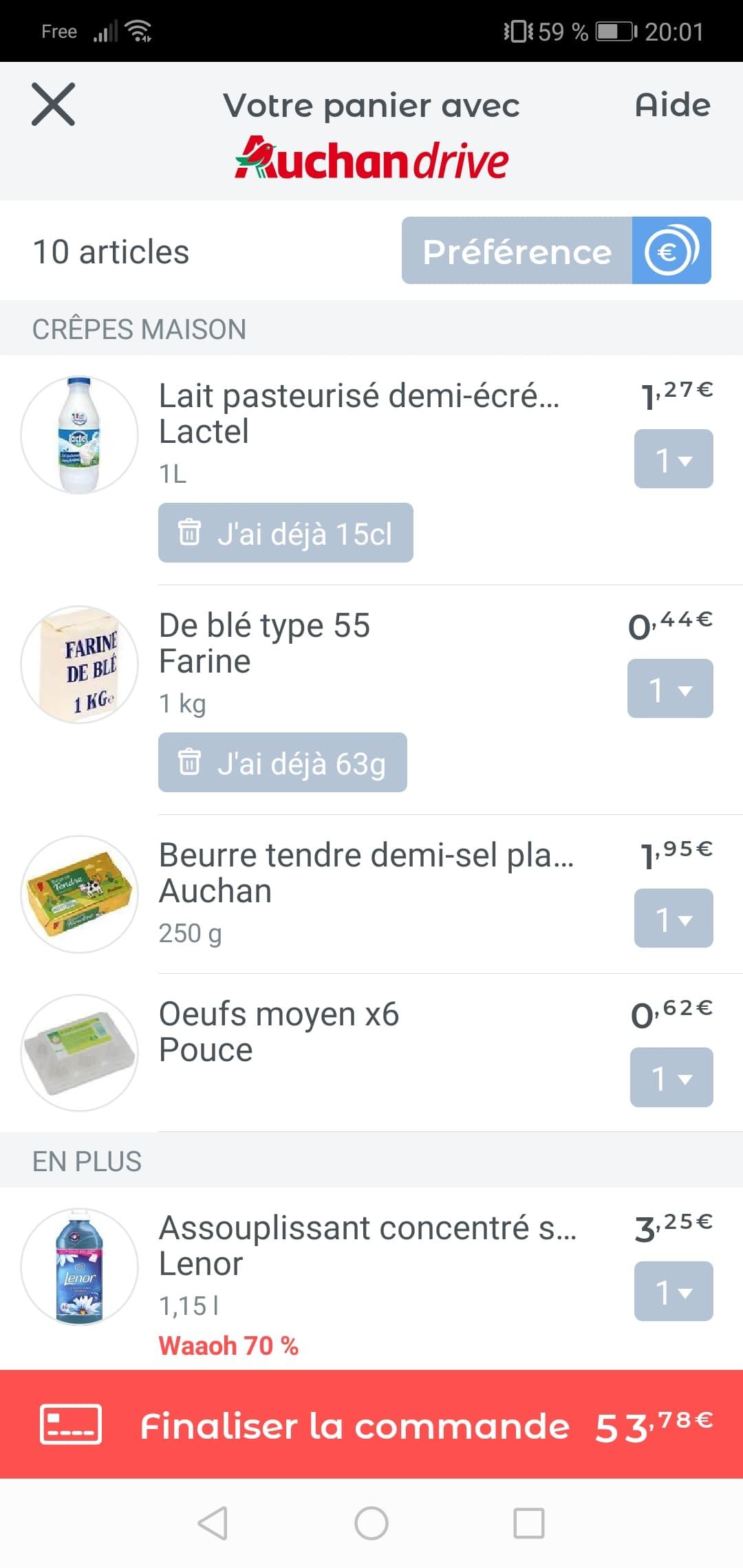 Detaille commande auchan drive recette crépe sur jow