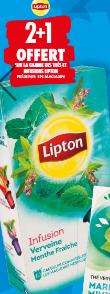 Promotion du catalogue carrefour 2+1 gratuit gamme Lipton thés et infusions
