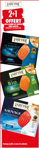 Promotion du catalogue carrefour 2+1 gratuit gamme saumons fumés Labeyrie