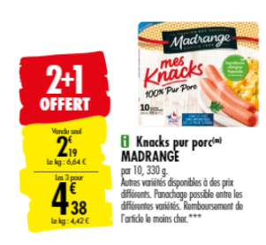 Promotion du catalogue carrefour 2+1 gratuit sur les Knacks Madrange
