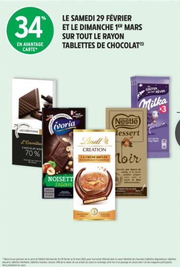 Promotion 34% sur tout les chocolat intermarché hypermarché